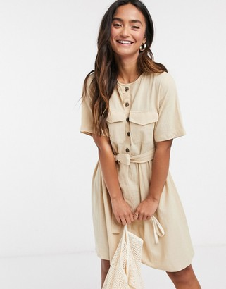 Pieces tie waist button detail mini dress with short sleeves in beige