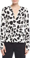 Narciso Rodriguez Leaf-Print Long-Sleeve Silk Blouse