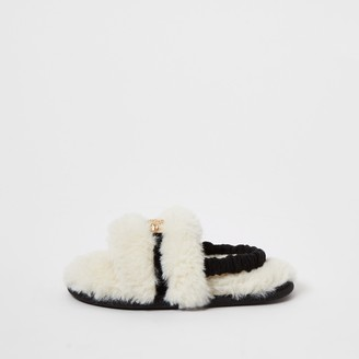 River Island Mini girls Cream faux fur panther slippers