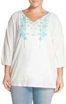 Sejour Embroidered Slub Cotton Split Neck Top (Plus Size)