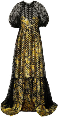 Erdem Neave Layered Flocked Tulle And Floral-jacquard Gown