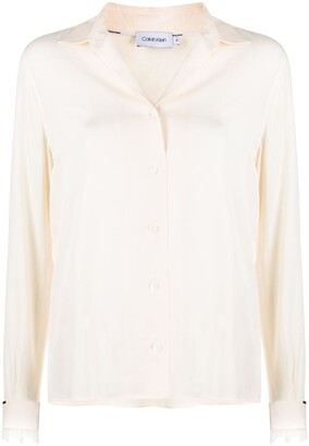 Calvin Klein Lace-Trimmed Loose-Fit Shirt