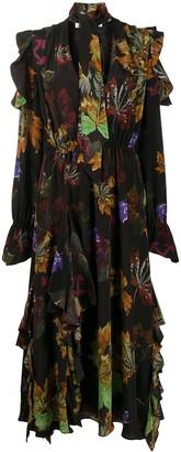Off-White Leaves ruffled-hem long dress