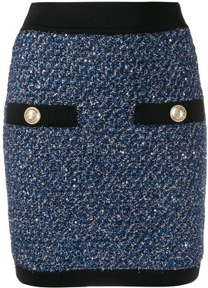 Balmain Knitted Button Skirt