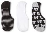 Xhilaration Women's Liner Socks Koalas 3-Pack Gray One Size