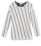 Two by Vince Camuto Asymmetric-stripe Pullover
