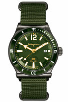 Salvatore Ferragamo 43mm 1898 Sport Men's Watch w/ Canvas Strap, Gray/Green