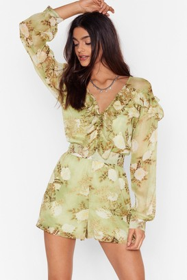 Nasty Gal Womens When the Light's Grow Out Floral Playsuit - Green - 6, Green