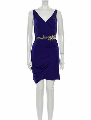 Marchesa Notte Silk Mini Dress Blue