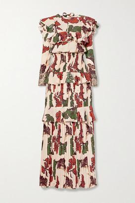 Johanna Ortiz Celebration Of Splendor Lace-trimmed Ruffled Crepe De Chine Maxi Dress - Blush