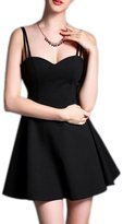 Moonpin Women's Vintage Backless Cami Fit And Flare Party Dress XS