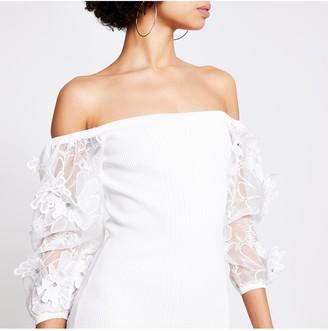 River Island Organza Puff Sleeve Knitted Dress - White