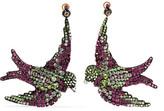 Gucci Swallow Gunmetal-tone, Crystal And Silk Clip Earrings - Purple