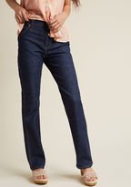 14MPTDK Whether these straight-leg jeans become your weekday go-to or your weekend faves, their dark wash and classic cut will quickly find a place in your wardrobe rotation! Touched with tan topstitching and chevron-detailed pockets, this pair - a ModCloth-exclu