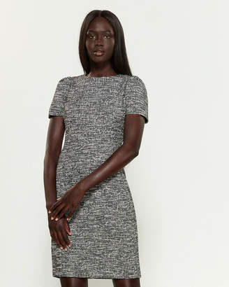 Calvin Klein Black & Cream Short Sleeve Tweed Sheath Dress