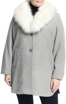 T Tahari Plus Olivia Faux-Fur Plaid Coat, Heather Gray