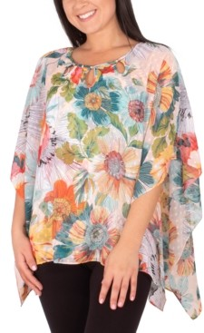 NY Collection Petite Printed Poncho Top