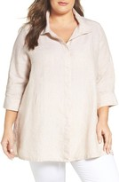 Foxcroft Plus Size Women's Chambray Linen Tunic Shirt