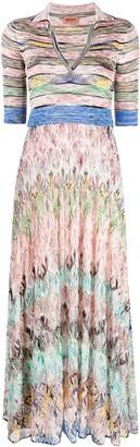 Missoni Stripe-Pattern Silk Polo Dress