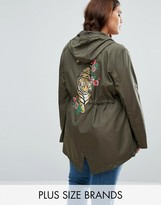 Brave Soul Plus Festival Parka With Tiger Back Print