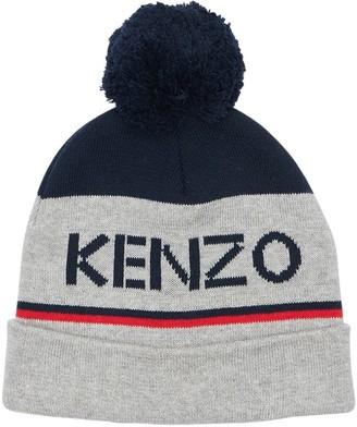 Kenzo Kids Logo Cotton Blend Knit Hat W/ Pompom