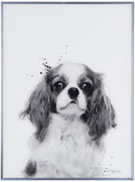 "Empire Art Direct ""King Charles Spaniel"" Black & White Dog Wall Art w/ Gunmetal Anodized"