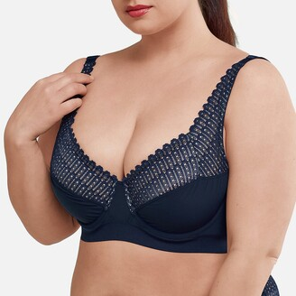 La Redoute Collections Plus Lace Full Cup Underwired Bra with Crossover Straps