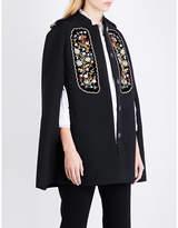 Vilshenko Eugenia floral-embroidered gabardine cape