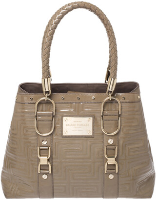 Gianni Versace Beige Patent Leather Snap Out Of It Tote