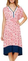 Ellen Tracy Plus V-Neck Floral Gown