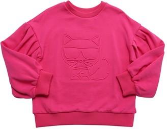 Karl Lagerfeld Paris Choupette Embossed Cotton Sweatshirt