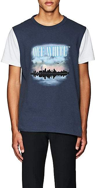 Off-White MEN'S GRAPHIC-PRINT COTTON JERSEY T-SHIRT - NAVY SIZE XS