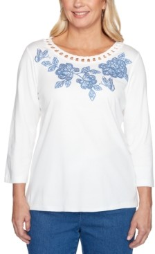Alfred Dunner Pearls of Wisdom Embroidered Cutout-Trim Top