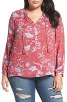 Lucky Brand Plus Size Women's Fringe Neck Floral Blouse