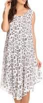 Sakkas 17705 - Yara Sleeveless Casual Summer Cotton Print Beach Cover Up Swing Tank Dress - OS