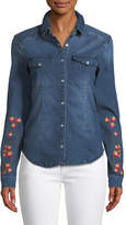 Etienne Marcel Long-Sleeve Snap-Front Stretch-Denim Shirt w/ Floral-Embroidery