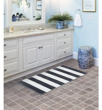 "Garland Beach Stripe Cinder Gray/White Bathroom Rug 21""x34"""