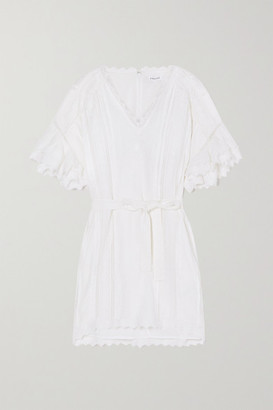 Frame Belted Ruffled Crochet-paneled Embroidered Ramie Mini Dress