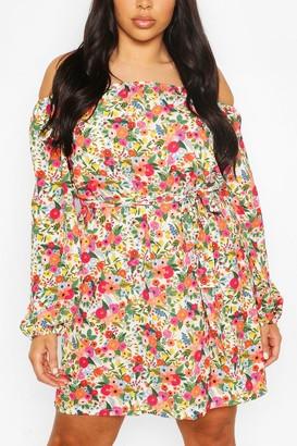 boohoo Plus Floral Off Shoulder Belted Shift Dress