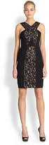 BCBGMAXAZRIA Lace Panel Halter Dress