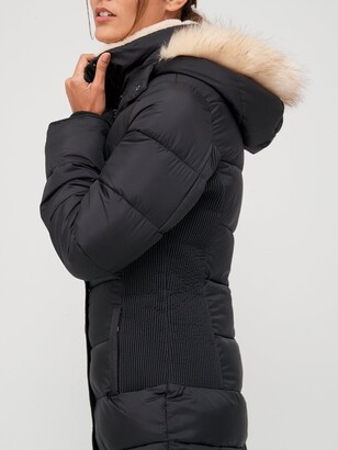 Very Waist Detail Padded Coat With Faux Fur - Black