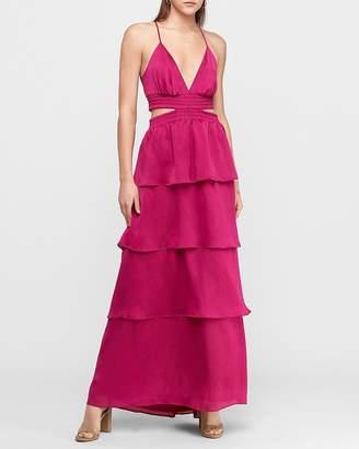 Express Tiered Cut-Out Satin Maxi Dress