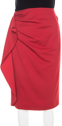 Escada Lacquer Red Stretch Knit Draped Ranani Pencil Skirt M