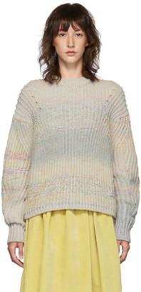 Acne Studios Grey and Multicolor Rainbow Sweater