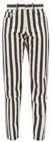 Saint Laurent Striped Mid-rise Slim-leg Jeans - Womens - Black White