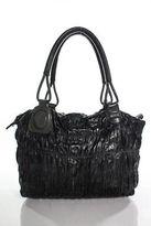 Pauric Sweeney Black Eel Skin Stingray Accented Tote Handbag