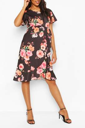 boohoo Maternity Floral Ruffle Wrap Dress