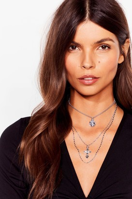 Nasty Gal Womens Cross the Record Layered Necklace - Metallics - ONE SIZE, Metallics