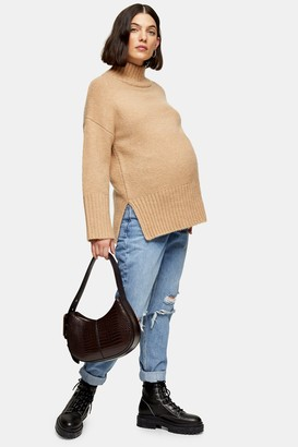 Topshop Womens **Maternity Over The Bump Ripped Mom Tapered Jeans - Mid Stone