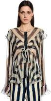 Alberta Ferretti Ruffled & Striped Silk Chiffon Shirt